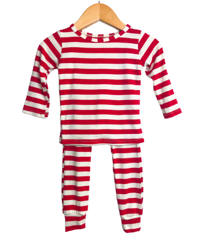 Cozys - Thin Stripe Two-Piece Pajamas in Red and White