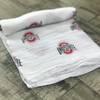 100% Organic Cotton Muslin Blanket in The Ohio State Logo