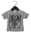 Roman & Leo - Don't Grow Up Baby Onesie and Tee in Heather Grey