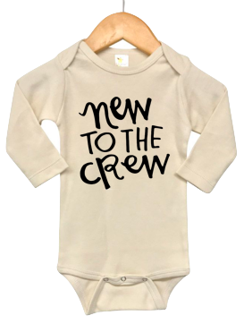Roman & Leo - New to the Crew Long Sleeve Baby Onesie in Natural