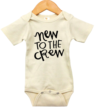Roman & Leo - New to the Crew Short-Sleeve Baby Onesie in Natural
