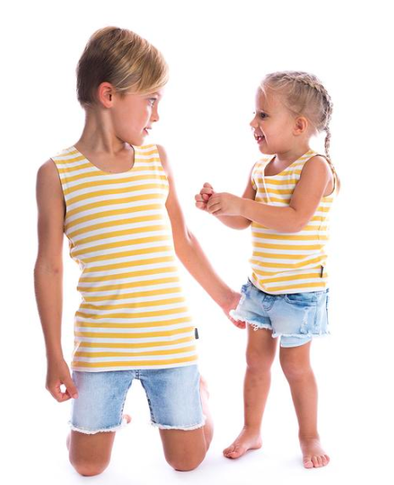 Beau Hudson mustard and white stripes tank singlet
