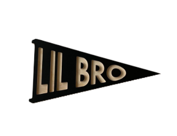K+B And Co - Lil Bro Wood Pennant Sign in Ebony