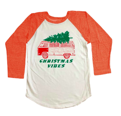 Tiny Whales - Christmas Vibes Raglan in Heather Red (Size 3T)