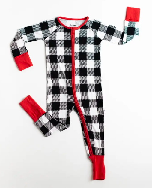 Black and white buffalo plaid baby pajamas