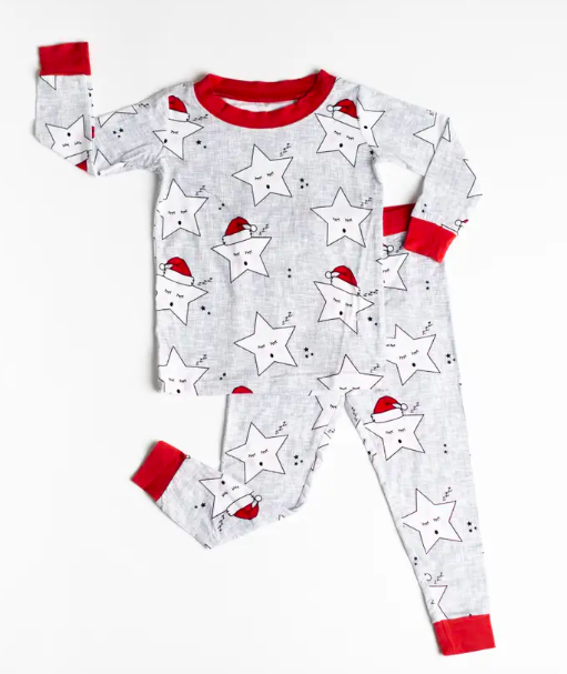 Little Sleepies - Sleepy Santa Stars Holiday Two-Piece Pajamas in Light Grey