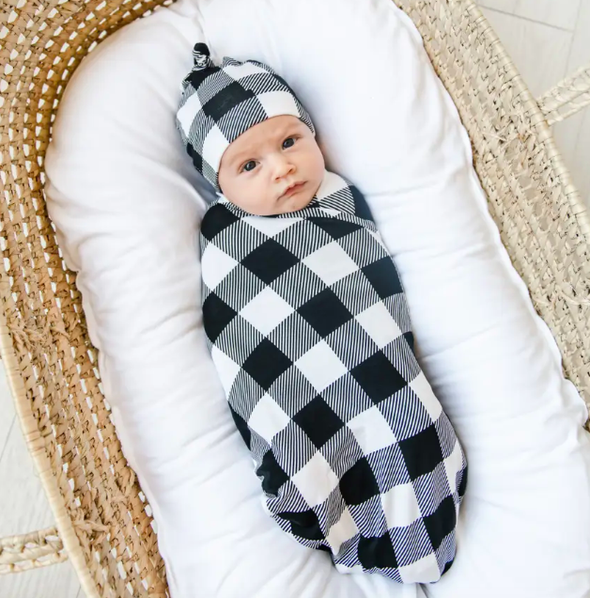 Little Sleepies - Buffalo Plaid Bamboo Swaddle in Black and White