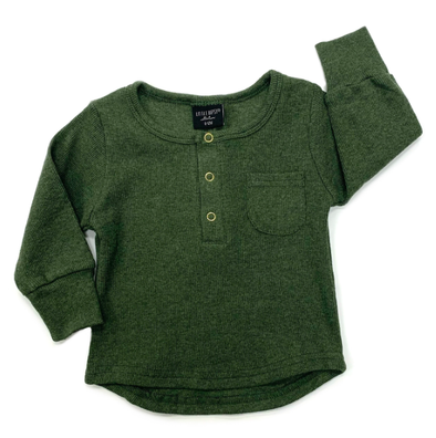Little Bipsy Ribbed henley hunter green