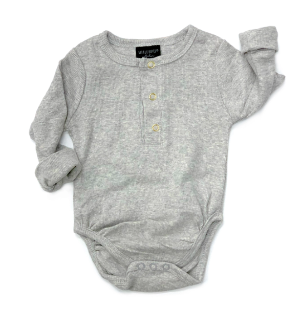 Little Bipsy Ribbed Henley onesie grey
