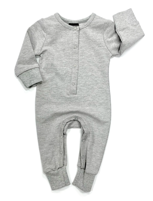 Little Bipsy - Long Sleeve Classic Snap Romper in Grey (Size 6-9mo)