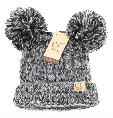 C.C. Beanie - Kids Multi-Tone Double Pom Beanie in Black