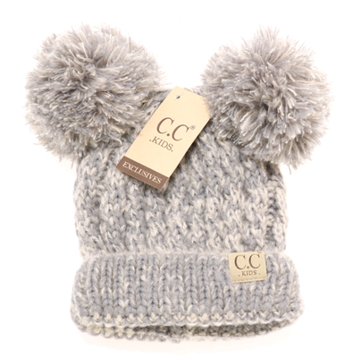 C.C. Beanie - Kids Multi-Tone Double Pom Beanie in Grey