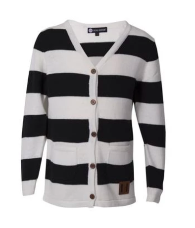 Beau Hudson black and white striped kids cardigan