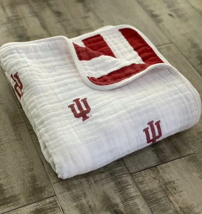 100% Organic Cotton Muslin 4-Layer Baby Blanket - IU Indiana University