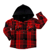 Little Bipsy Hooded flannel in black and red