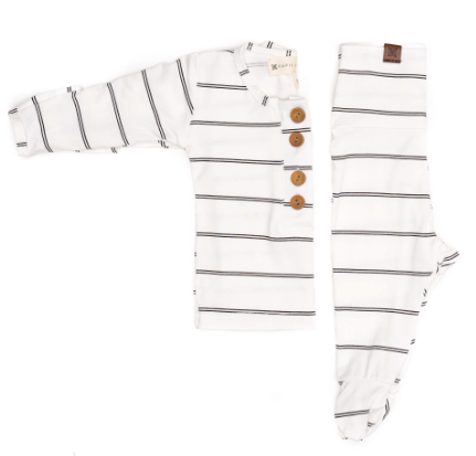 Papillion Bebe infant two piece striped onyx