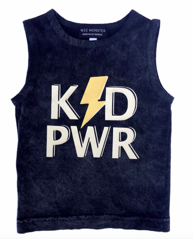 Wee Monster - Kid Power Muscle Tank in Black Acid Wash (Size 12mo)