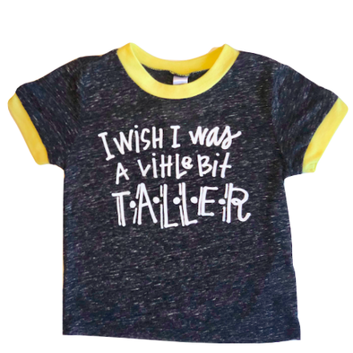 Roman & Leo - I Wish I Was a Little Bit Taller Ringer Tee in Charcoal