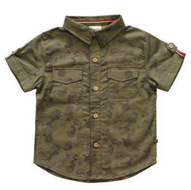 Fore! Axel & Hudson - Short Cuffed Sleeve Button Up in Camo (Size 3T)