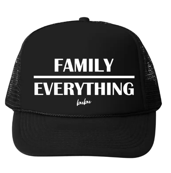 Bubu - Baby/Toddler/Kids Trucker Hats - Family Over Everything in Black