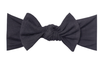 Copper Pearl - Infant Stretchy Soft-Knit Bow Headband in Midnight Black