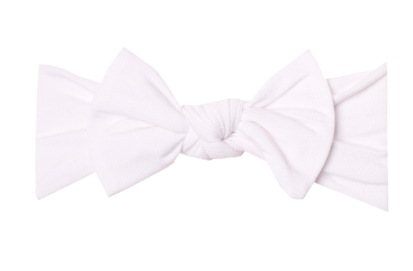Copper Pearl - Infant Stretchy Soft-Knit Bow Headband in Dove White