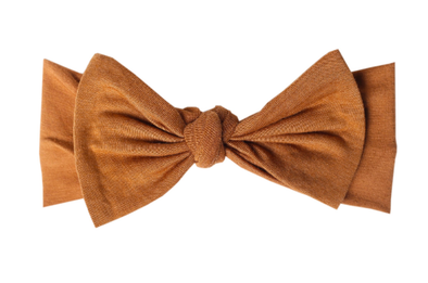 Copper Pearl infant bow headband camel