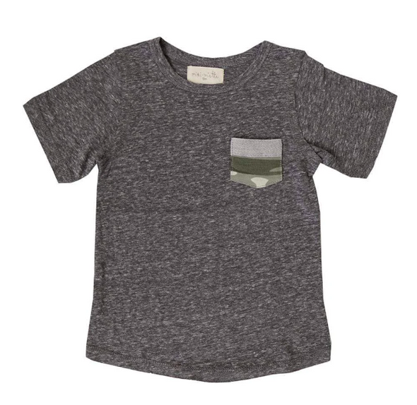 Miki Miette - Camo Pocket Tee in Heather Grey