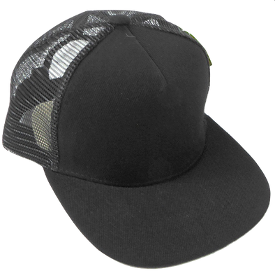 Children's Mesh Trucker Snapback Hat in Black