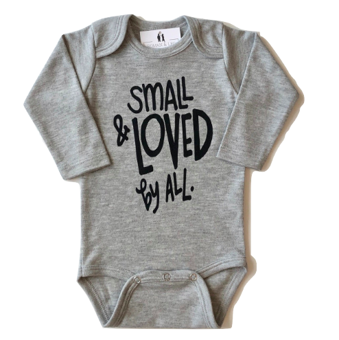Small and loved by all long sleeve baby onesie