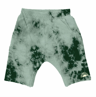Tiny Whales - Tie Dye Shorts in Chaparral Green