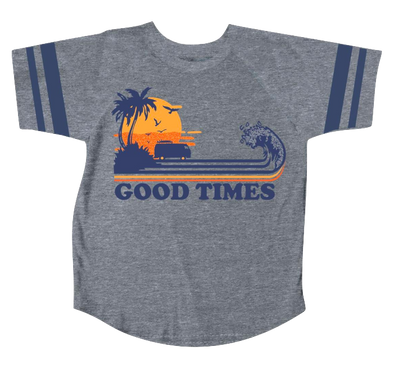 Tiny Whales Good Times football tee in grey