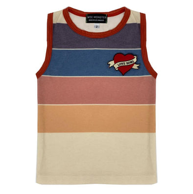 Wee Monster Love Song patch striped tank