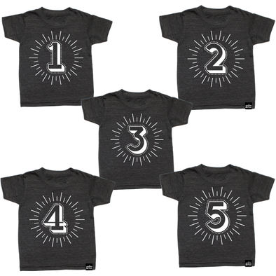 Whistle & Flute - Milestone Number T-Shirts in Charcoal