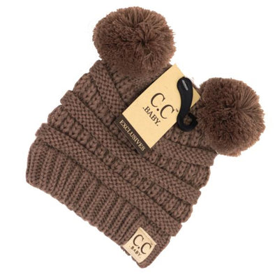 C.C. Beanie - Baby Double Pom Solid Beanie in Taupe