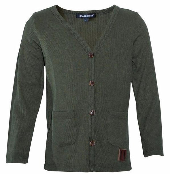 Beau Hudson khaki green cardigan for kids