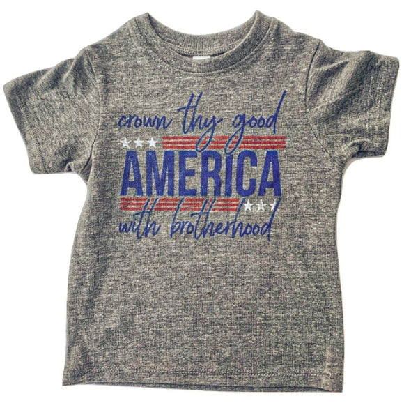 Roman & Leo - AMERICA Crown Thy Good Tee in Heather Grey (Size 3T and 4T)