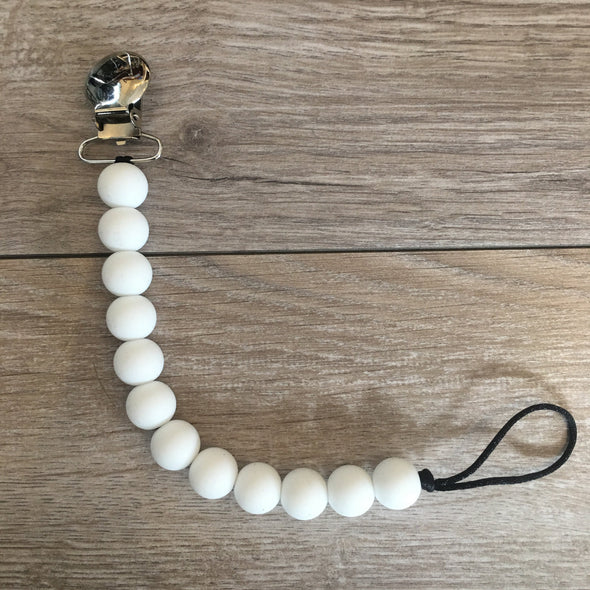 white pacifier clip