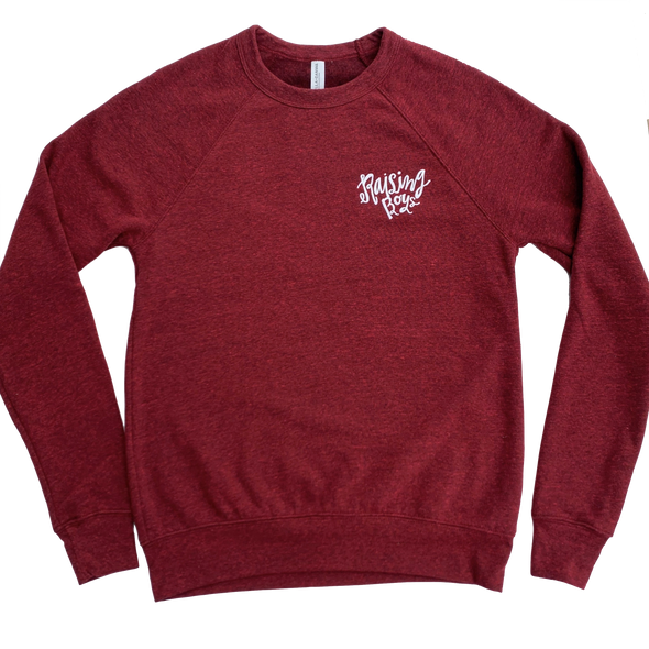 Roman & Leo - Women's Raising Boys Crew Neck Sweatshirt in Heather Cardinal