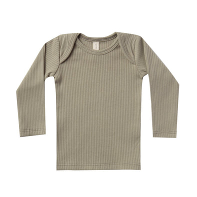 Quincy Mae ribbed lap tee in olive