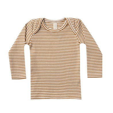 Quincy Mae walnut stripe lap tee