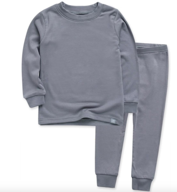 Basic Kids Modal Pajamas in Grey