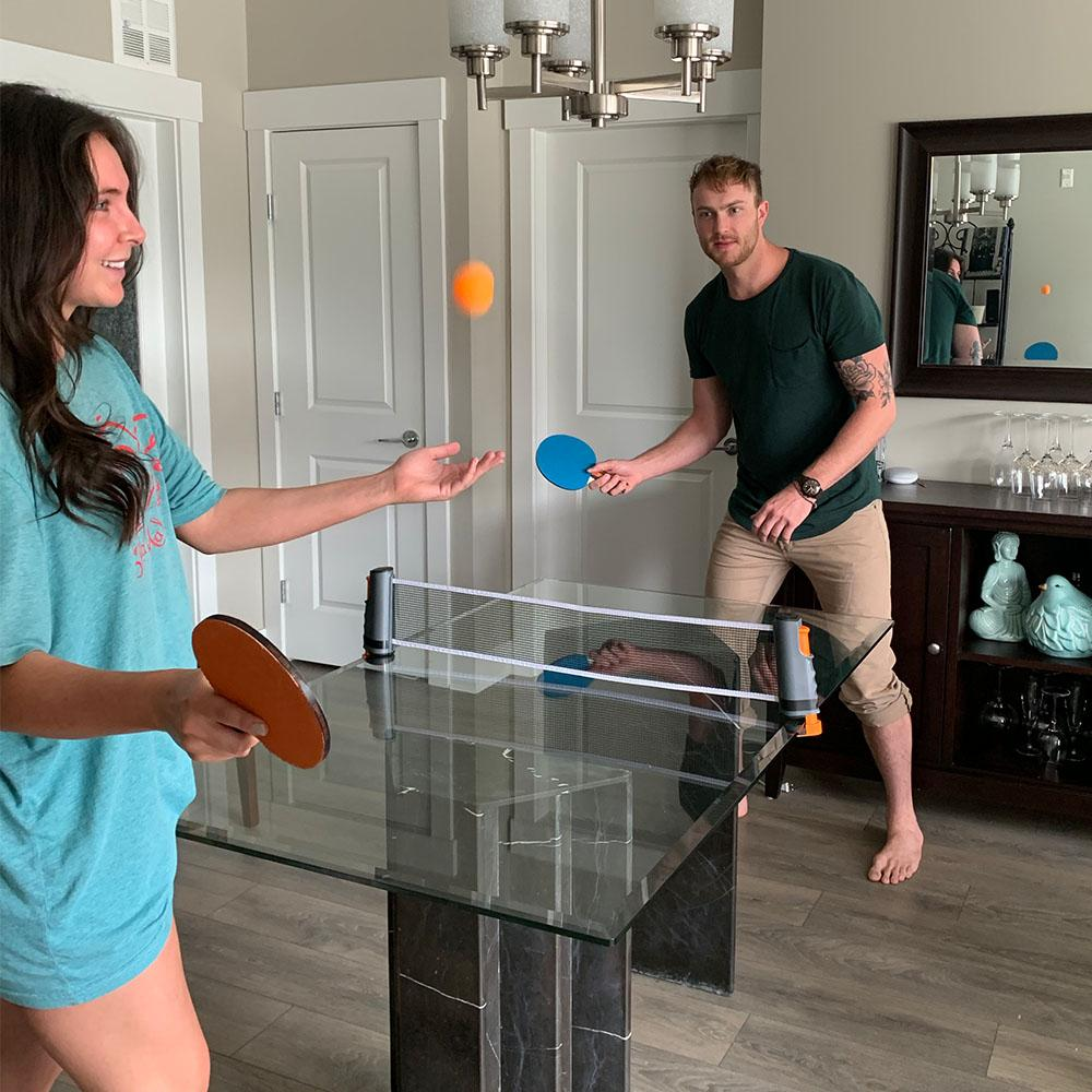 Play ping pong anytime, anywhere with the PingPongly™ Retractable Table Tennis Net!