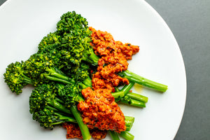 Broccolini + roast red pepper Romesco
