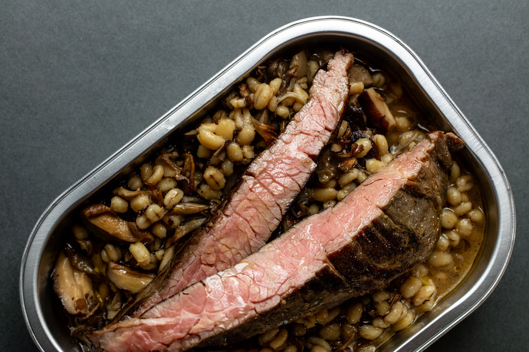 Striploin steak + Mushroom & Barley risotto