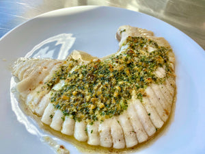 Grilled Skate + Parsley, caper and bone marrow butter