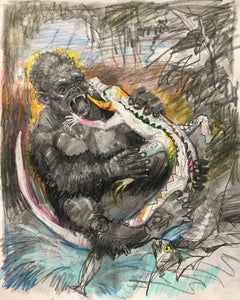 Gorilla & Albino Alligator (11x14 inches)