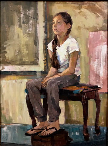 Girl on Piano Bench (18x24 inches, framed)