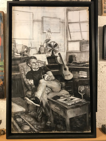 Alec Laughlin in studio (33x51.5 inches, framed)