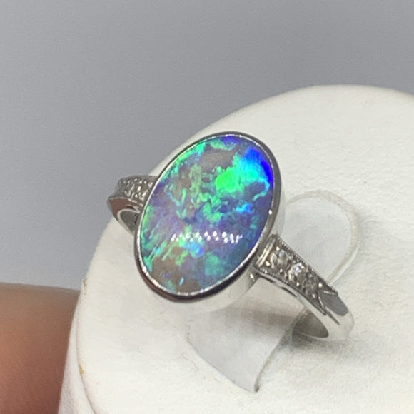 Black Opal ring with Diamonds